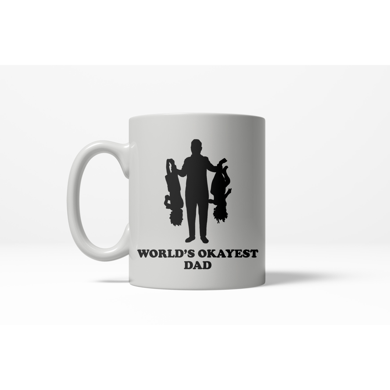 Upside Down Kids Worlds Okayest Dad Drinking Mug