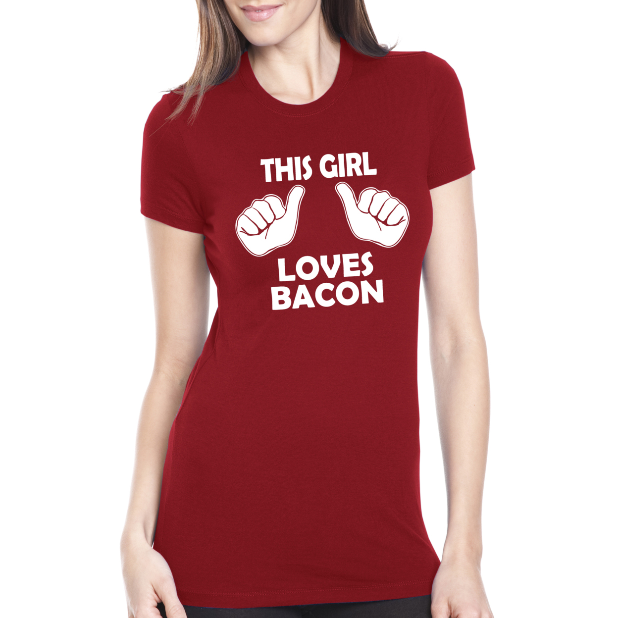 Women's This Girl Loves Bacon Funny T Shirt - Small-Women's 53bd9f4872989a5c700007f6