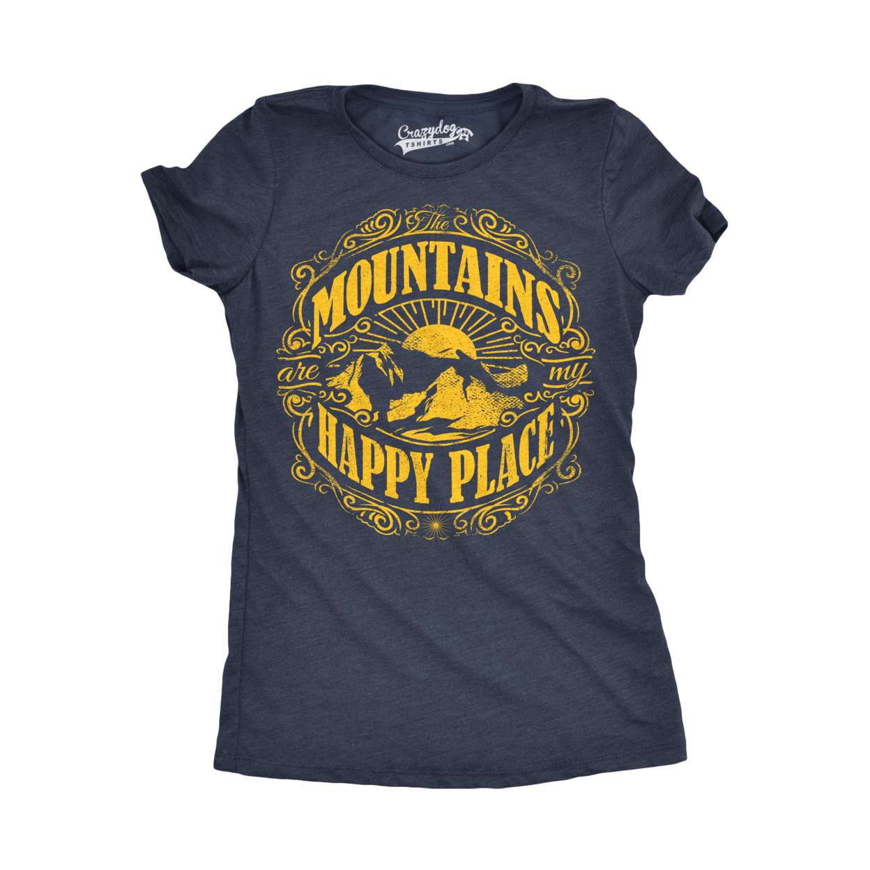 Womens Mountains Are My Happy Place Cool Vintage Rockies Outdoor Nature T shirt 5934a0f22a00e412bc131dae