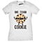 Womens Tough Cookie Funny Fitness Food Tshirt For Ladies (White)