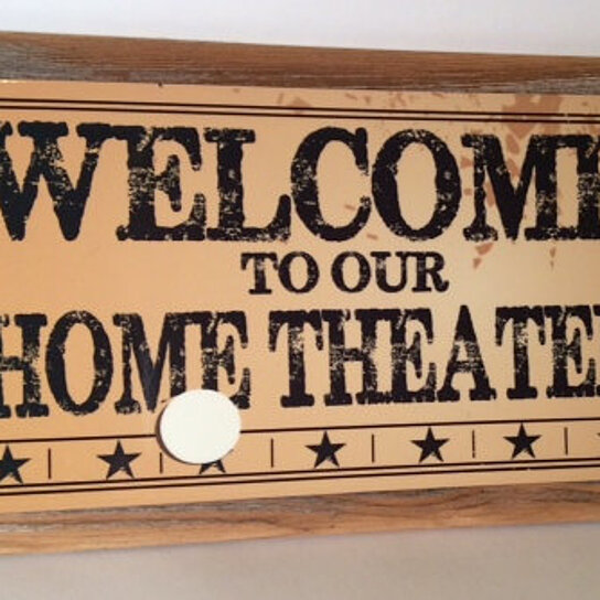 Buy welcome to our home theater metal sign framed with for Our home decor