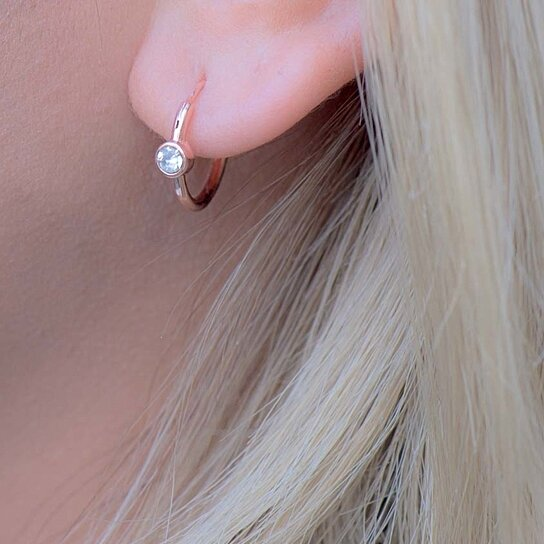Rose Gold Hoop Earrings Aaa Zirconia Small Huggie In Or Silver 11mm And 15mm By Christophers Jewelry Trends On Opensky