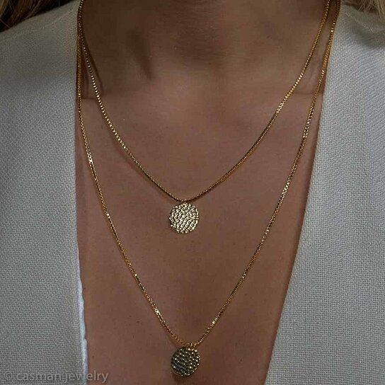 Buy Gold Layer Necklace Set With Hammered Disc Charms