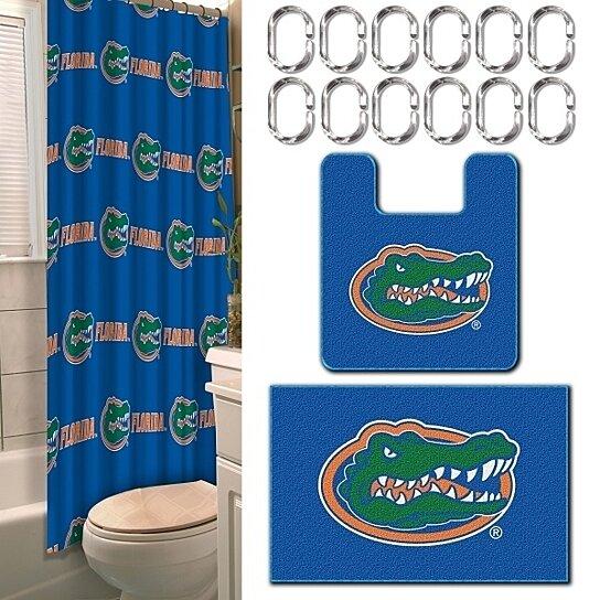 Buy florida gators 15 pc bathroom combo set shower curtain hooks bath rugs by - Florida gators bathroom decor ...