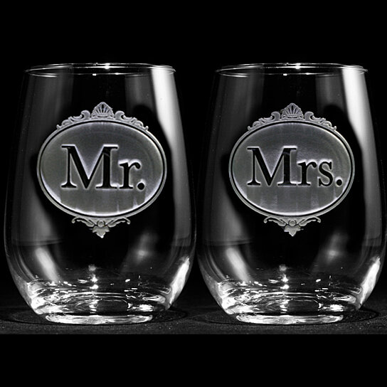 Buy Mr. and Mrs. Stemless Wine Glass Set, Wedding Gifts for Bride and ...