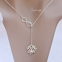 925 Sterling silver infinity lotus lariat Y necklace,Peace lotus,Yoga lotus jewelry