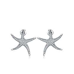 CZ Starfish Stud earrings,Sterling silver post,Fashion earrings.Ocean starfish earrings