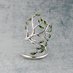 Tree of life Antique sterling silver ring