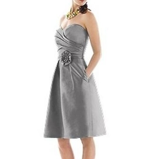 Buy Alfred Sung 496 Knee Length Strapless Dupioni