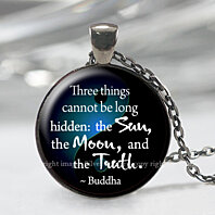 Buddha Yoga Necklace, Spiritual Gift, Moon Sun Truth Quote Pendant
