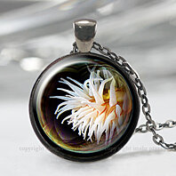 Sea Anemone Jewelry, Nautical Ocean Beach Necklace, Silver Pendant Gift