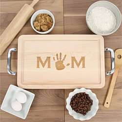 MOM - Maple Cutting Board - With Handprint
