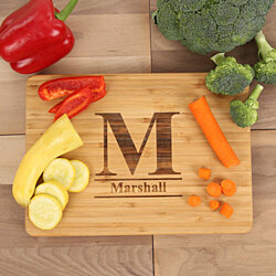 "Personalized Large Initial Bamboo Cutting Board (9 1/2"" x 13 3/8"")"
