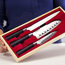 "SMARTPAN 3 Pieces Chef Knifes Set - Featuring 8"" Carving, 7"" Santoku, 5"" Utility 