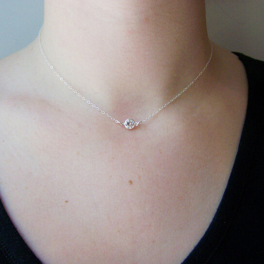 Buy tiny diamond necklace cz necklace sterling silver or gold buy tiny diamond necklace cz necklace sterling silver or gold filled tiny necklace dainty necklace simple jewelry choker necklace by daisy fox mozeypictures Image collections