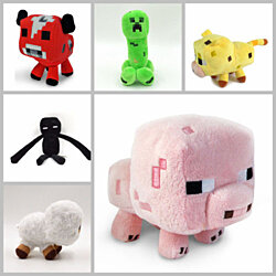 6pcs/set Minecraft Enderman Creeper Mooshroom Sheep Squid Cow Pig Doll
