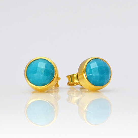 58c0395e0 Trending product! This item has been added to cart 29 times in the last 24  hours. Small Natural Turquoise Stud Earrings, Turquoise Studs, December ...