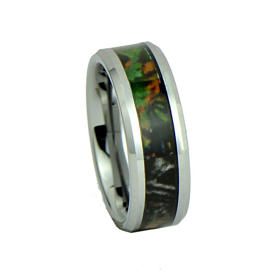 Buy camo hunting brown green camouflage 8mm tungsten for Tungsten camo wedding rings