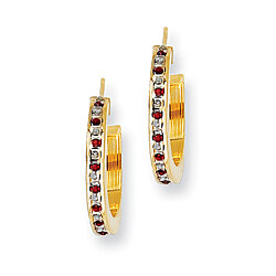Sterling Silver Gold-Flashed Diamond & Ruby Hoop Earrings