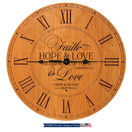 Wedding Clock Gift: Buy Personalized Clock, Faith Hope & Love The Greatest Of