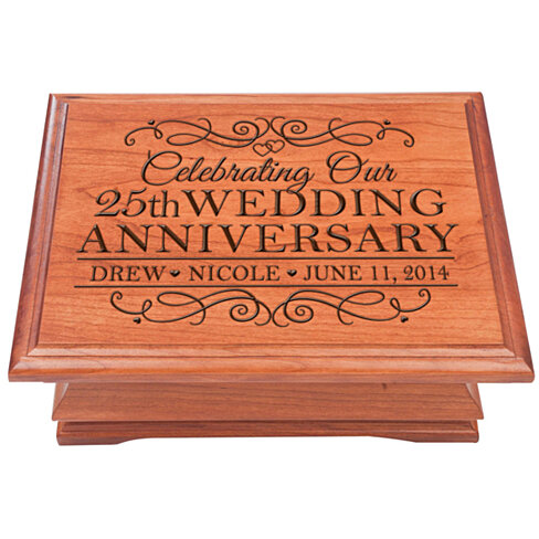 Buy personalized 25th wedding anniversary jewelry box for Engravable gifts for her