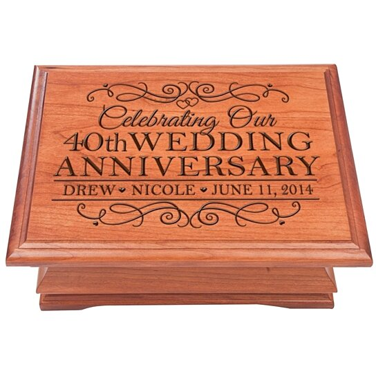 Wedding Gifts For 40 Years : Buy Personalized 40th Wedding Anniversary Jewelry Box, Cherry Wood ...