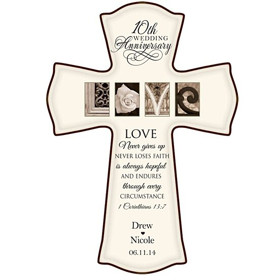 10 Years Wedding Anniversary Gift: Buy Personalized 10th Wedding Anniversary Cross With Love