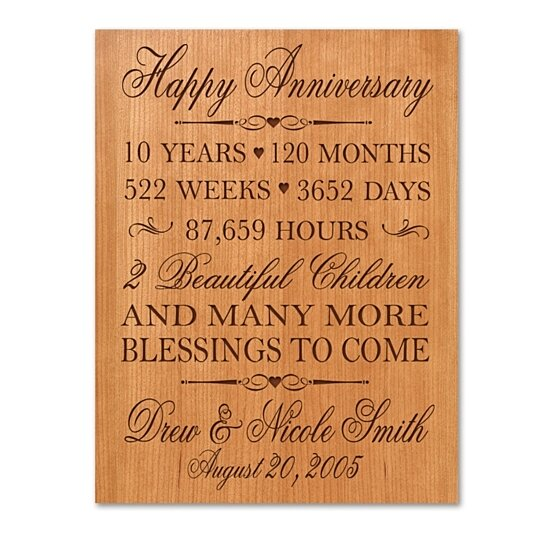 10 Years Wedding Anniversary Gift: Buy Personalized 10th Anniversary Plaque, Can Be