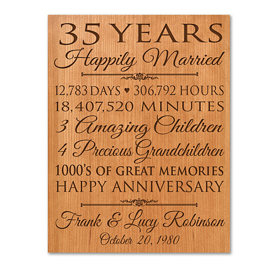 Anniversary Gifts By Years Married: Buy Personalized 35th Wedding Anniversary Wall Plaque By