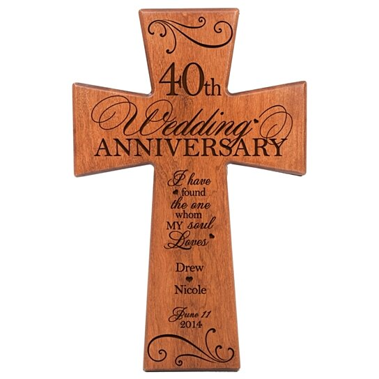Buy Personalized 40th Wedding Anniversary Cherry Wall Cross I Have Found The One Whom My Soul