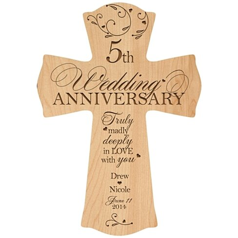 5 Year Wedding Gift For Her : Personalized 5th Wedding Anniversary Cross, Truly madly deeply in love ...