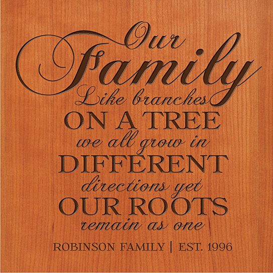 Buy Personalized Plaque Our Family Like Branches On A