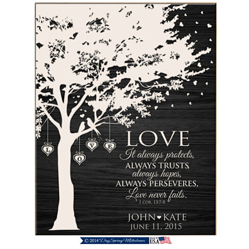 Unique Wedding Gifts For Wife : Personalized Plaque, Love it always protects always trusts, always ...