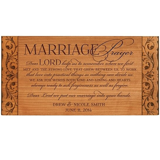 Unique Gifts For Husband On Wedding Day: Buy Personalized Marriage Prayer Plaque, Dear Lord Help Us