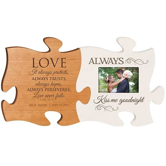Buy Personalized Wedding Photo Puzzle Frame Set Of 2 Love Always Protects Always Kiss Me