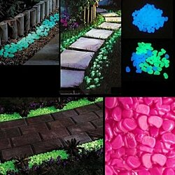 100 Pack: Glow in the Dark Pebbles in 3 Colors