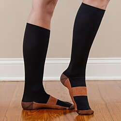 (2 Pairs) Anti Odor Copper Infused Compression Socks