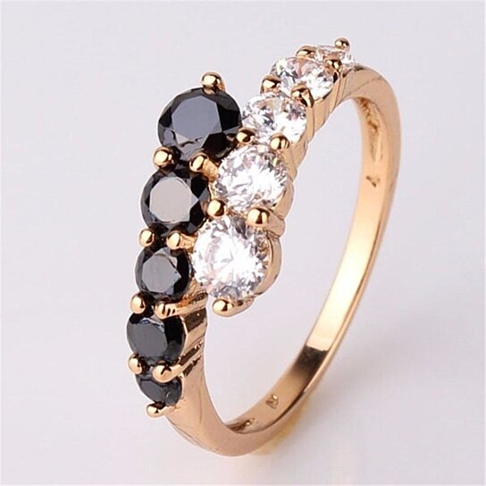 Buy Fashion Five Black Rhinestone Cross Rings for Women Fashion Gold Color  Alloy Engagement Ring by Deal Online on Gemafina f57b1f176f4b