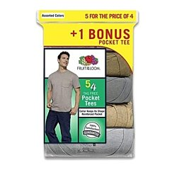 Fruit of the Loom Men's Pocket T-shirts 5-pack Assorted Colors. NEW