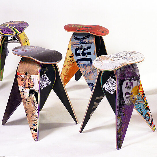 Buy Recycled Skateboard Stool By Deckstool By Deckstool On