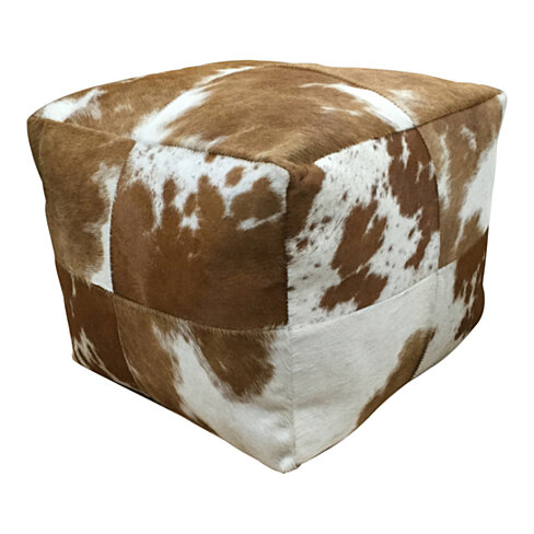 Cowhide Pouf Brown and White