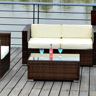 4 SEAT OUTDOOR PATIO FURNITURE SET PE Wicker Chairs Table Cream Wh Cushions New
