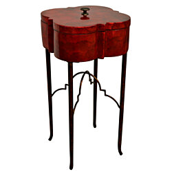 "BOX WITH LID ON STAND CAPIZ SHELL RED Stained Wood Metal Legs 15"" Sq x 28""H  New"