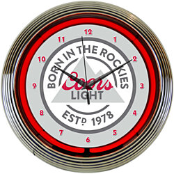 "COORS LIGHT BORN IN ROCKIES Beer 15"" Neon Wall Clock Glass Face Chrome Plate New"