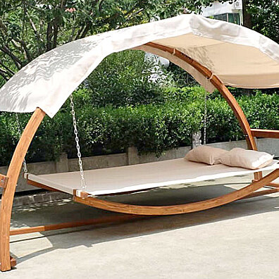 HAMMOCK BED & CANOPY ROOF 2 PERSON SWING Dual Wood Arches Deck Patio Garden New
