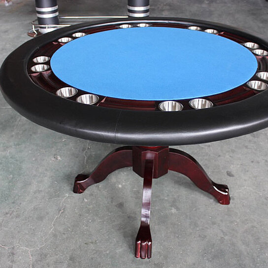 Buy poker table 52 quot round wood 8 player texas holdem card games plus