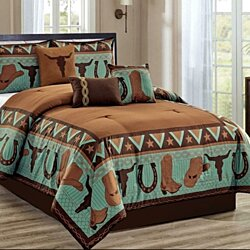 QUEEN COMFORTER 7 Pc SET Rustic Turquoise Brown Cow Skull Boots Microfiber Shams