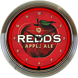 "REDDS APPLE ALE Beer 15"" Neon Wall Clock Glass Chrome Plate Warranty 8MCRED New"