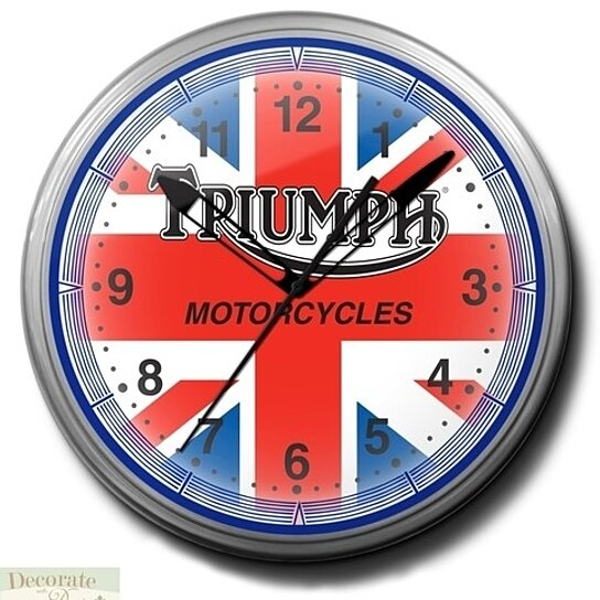 Buy Triumph Motorcycles Neon Silver Metal 20 Wall Clock Made Usa 1