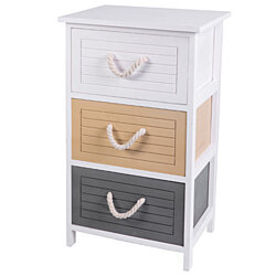 Multi Colored 3 Drawers Storage Chest Nightstand with Rope Handles